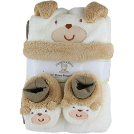 Snugly Baby 3 Pc Set Tan Fleece Baby Blanket w/ Booties & Hat - 30.0 in. x 40.0 in.