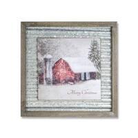 "Set of 2 Metallic Gray and Snow White Merry Christmas Decorative Plaque 18"""
