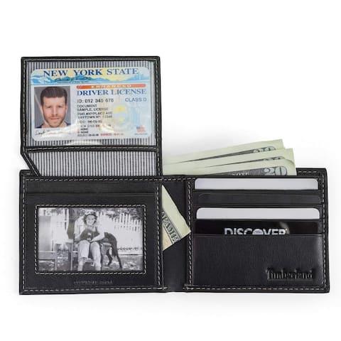 Timberland Men's Genuine Leather Pebble Grain Bifold Wallet - Navy