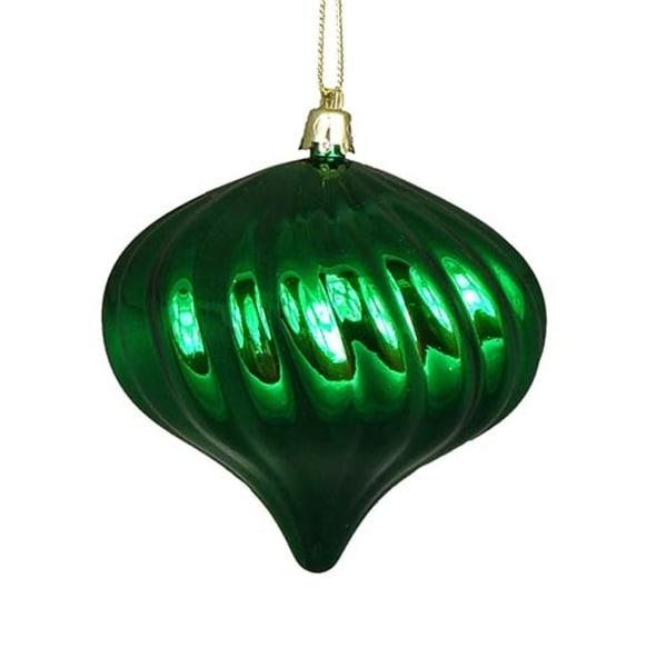 "4ct Shiny Xmas Green Swirl Shatterproof Onion Christmas Ornaments 4"""
