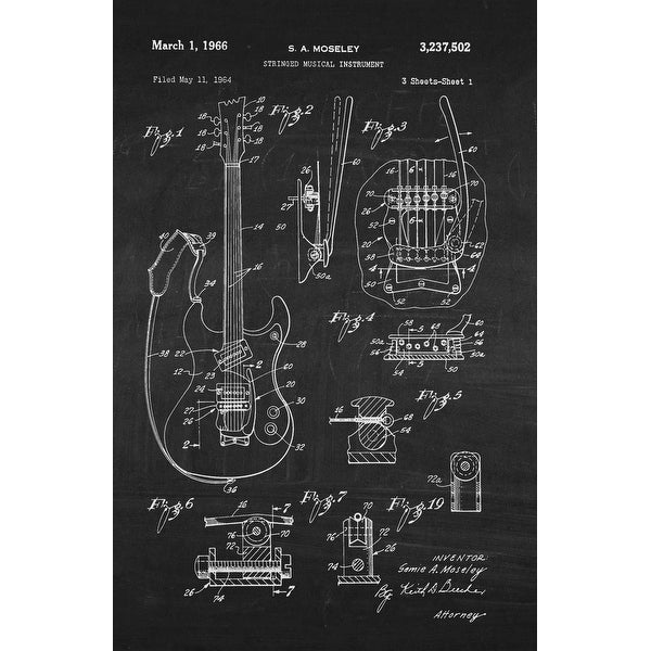 Guitar on White on Chalkboard - Patents - 24x16 Matte Poster Print Wall Art