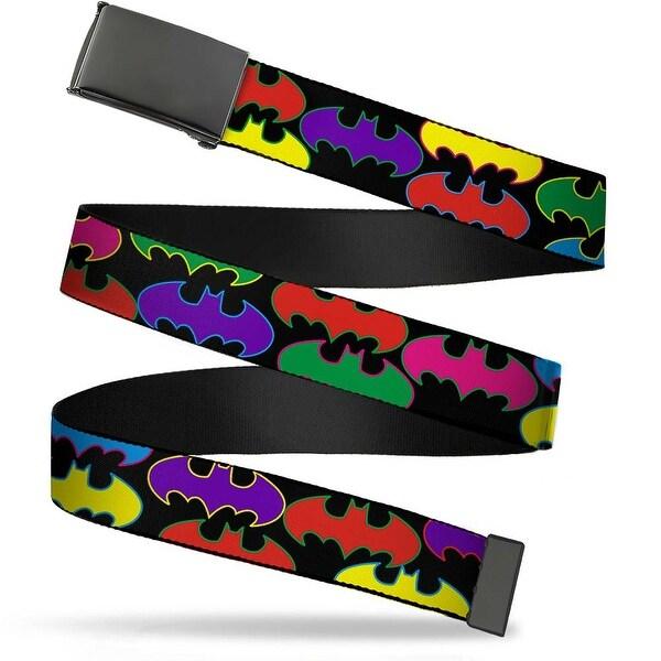 Blank Black Buckle Batman Random Logo Black Multi Color Webbing Web Web Belt