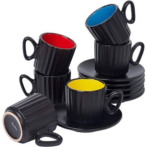Ribbed Espresso Set of 6 Cups with Saucers by Bruntmor - Demitasse Cups, Perfect for Espresso, Coffee Latte, Cappuccino
