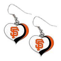 San Francisco Giants MLB Glitter Heart Earring Swirl Charm Set