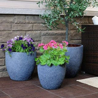Sunnydaze 3-Piece Fiber Clay Round Indoor/Outdoor Planter Pot - Gray Sandstone - 3-Piece Set
