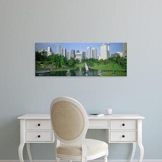 Easy Art Prints Panoramic Images's 'Park In The City, Petronas Twin Towers, Kuala Lumpur, Malaysia' Premium Canvas Art