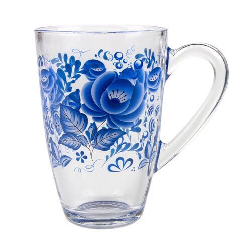 STP-Goods Gzhel Style Blue and White Glass Tea Coffee Large Mug