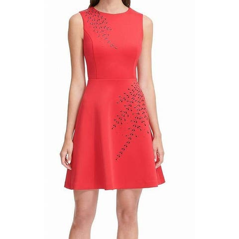 Tommy Hilfiger Women's Dress Red Size 12 A-Line Embellished Sleeveless