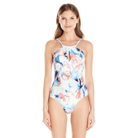 Vince Camuto Women's Jewelry-Neck Keyhole Flora One Piece Swimsuit, 4