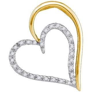 Heart Pendant 10K Yellow-gold With Diamonds 0.16 Ctw By MidwestJewellery - White