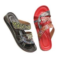Spring Footwear Womehn's Leather Sandals - Handpainted Straps