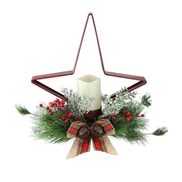 "15"" Pine Needle, Berry and Jingle Bell Red Star Shaped Candle Holder"