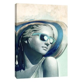 "PTM Images 9-109111  PTM Canvas Collection 10"" x 8"" - ""Hipster Statue With Sunhat"" Giclee Women Art Print on Canvas"