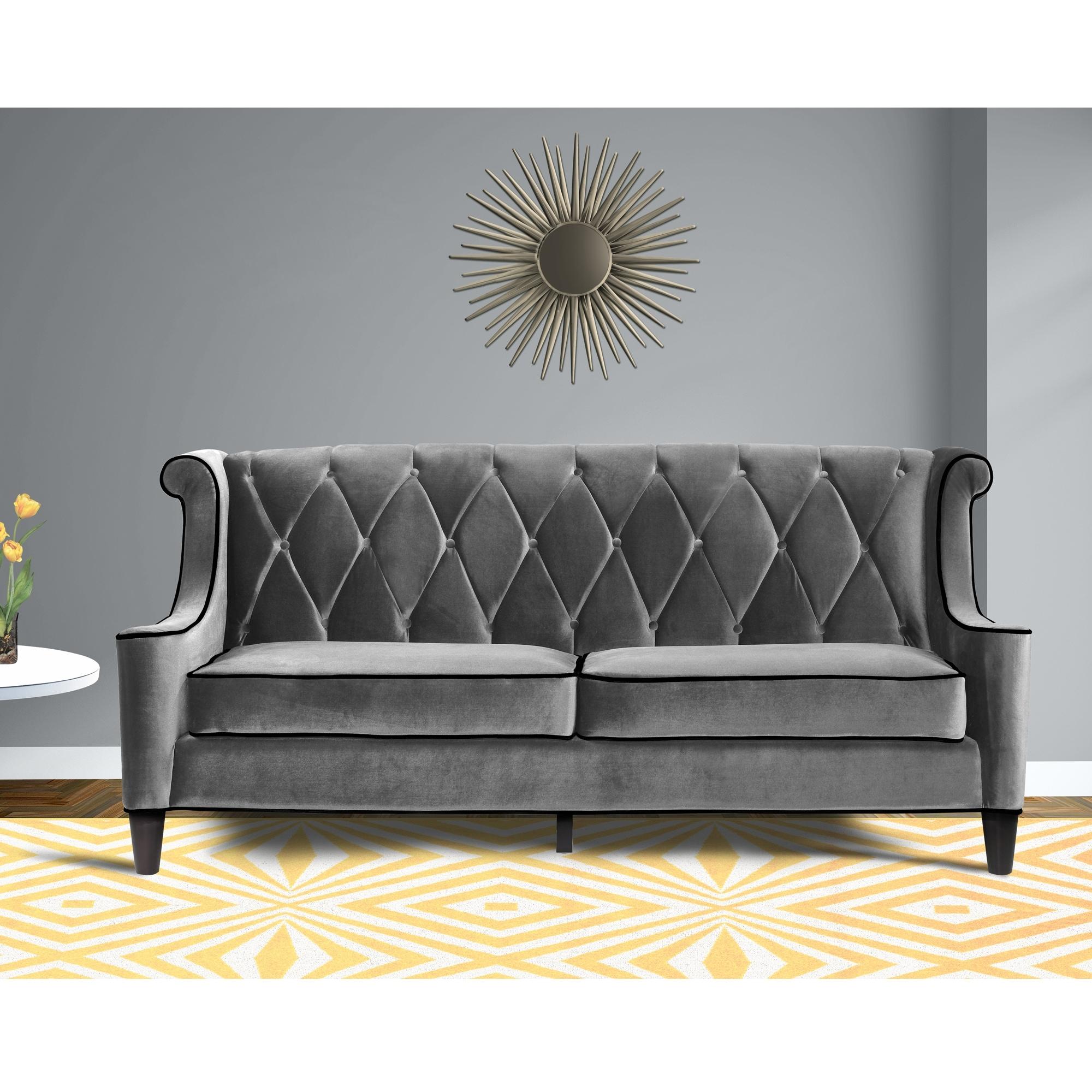 Armen Living Barrister Modern Velvet Sofa Overstock 6629457