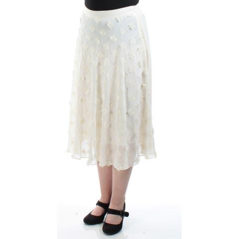 RACHEL ROY Womens Ivory Floral Tea Length A-Line Skirt Size: 8