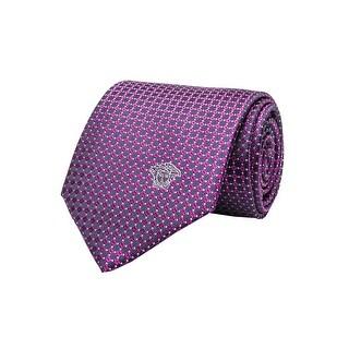 Versace Men's Medusa Logo Square Pattern Silk Neck Tie Blue - no size