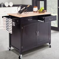 Costway Rolling Kitchen Cart Island Wood Top Storage Trolley Cabinet Utility Modern - as pic