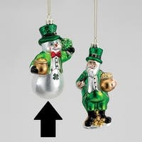 "4.75"" Luck of the Irish Snowman Leprechaun with Pot of Gold Glass Christmas Ornament - Green"