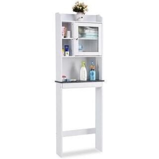Gymax Over-the-Toilet Bath Cabinet Bathroom Space Saver Storage Organizer White