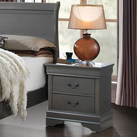 Furniture of America Devi Transitional Grey Solid Wood Nightstand