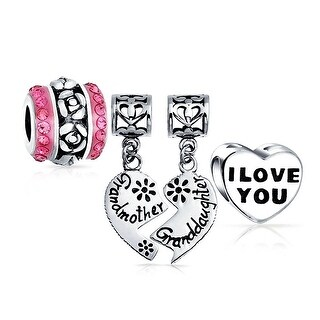 Bling Jewelry Set of Three Pink and Silver Grandmother Granddaughter Heart Shaped Rose Charm Bead .925 Sterling Silver