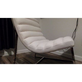 Parisian White Leather Sofa Chair By Christopher Knight