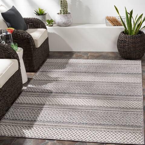 Jaki Indoor/ Outdoor Boho Striped Area Rug