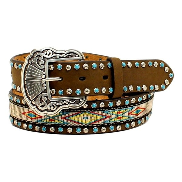 Nocona Western Belt Womens Ribbon Inlay Aztec Medium Brown