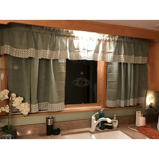 sage country style curtain parts with white daisy lace accent swags
