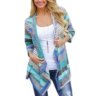 Women's Fashion Geometric Print Drape Front Cable Knit Cardigan