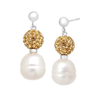 Freshwater Pearl Drop Earrings with Champagne Swarovski Crystals in Sterling Silver - White|https://ak1.ostkcdn.com/images/products/is/images/direct/c12381e2a2cc58a1cc0ecf0abbacfeed60204b84/Freshwater-Pearl-Drop-Earrings-with-Champagne-Swarovski-Crystals-in-Sterling-Silver.jpg?impolicy=medium