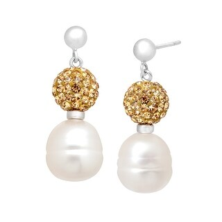 Freshwater Pearl Drop Earrings with Champagne Swarovski elements Crystals in Sterling Silver