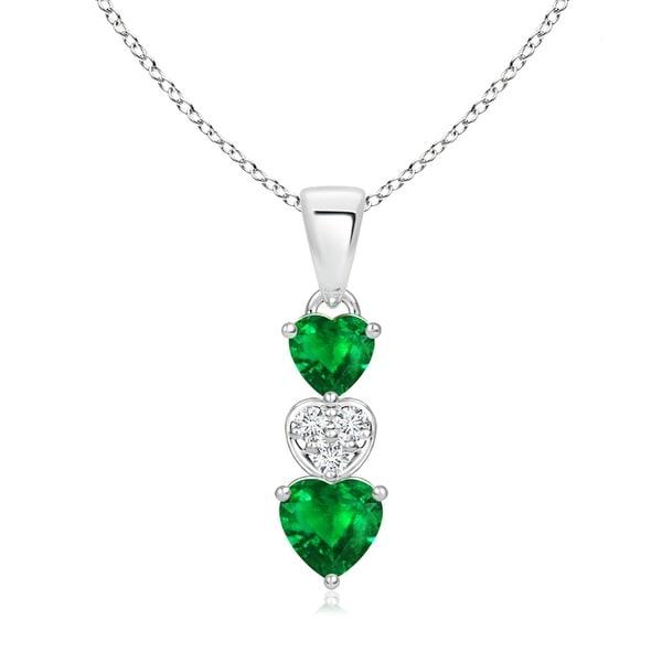 Angara Dangling Emerald and Diamond Triple Heart Pendant - White