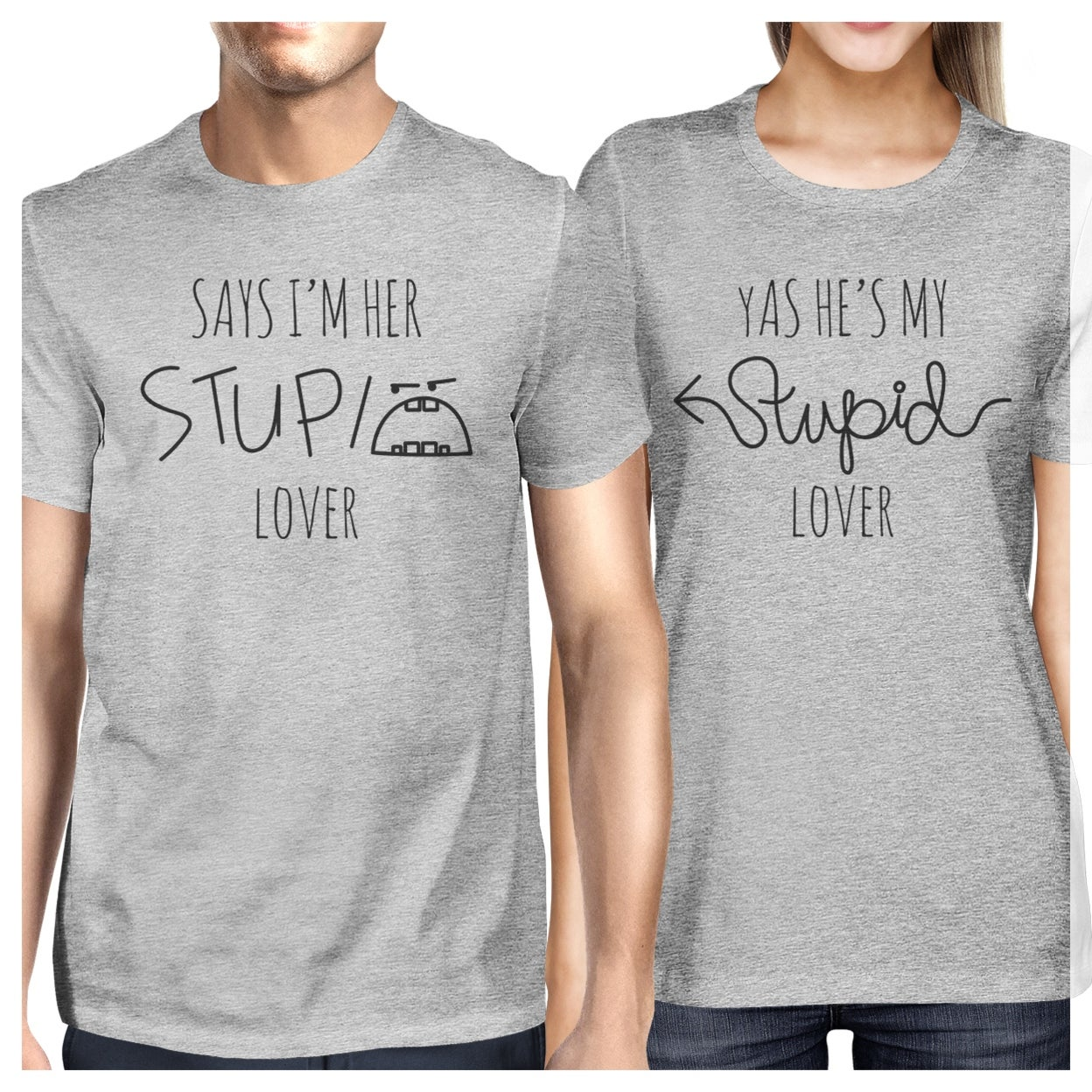 0ed9f9ce86 Shop Stupid Lover Grey Matching Couple T-Shirts Short Sleeve Cotton Tee -  On Sale - Free Shipping On Orders Over $45 - Overstock - 23001118