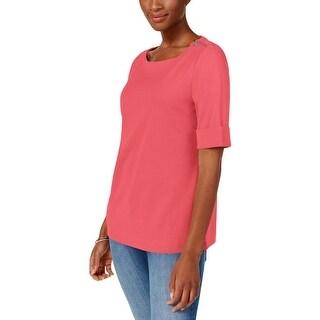 Karen Scott Womens Petites T-Shirt Knit Zipper