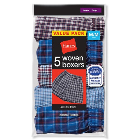 Hanes Boys Red Label Tartan Boxer - Size - L - Color - Assorted Plaid