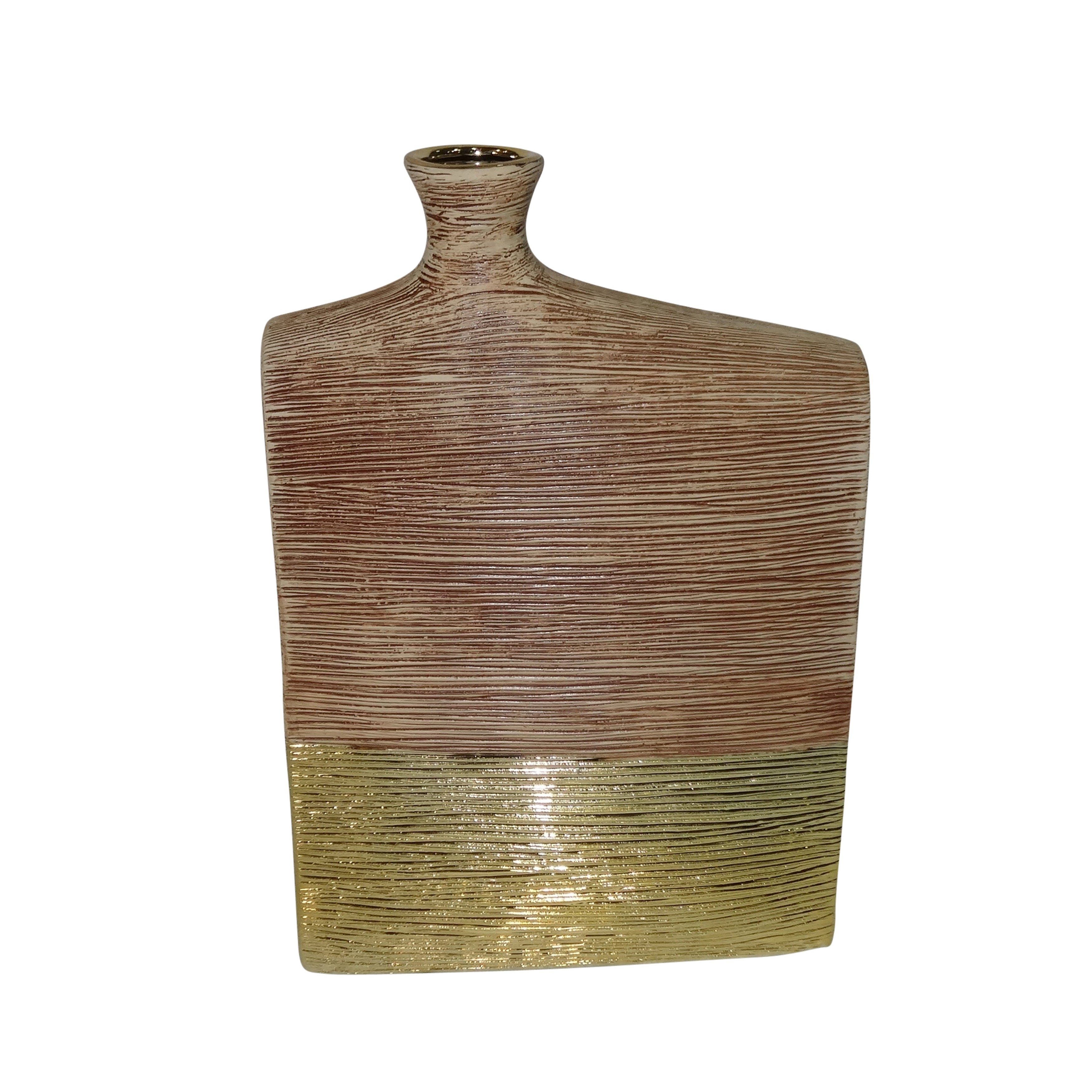 Contemporary Ceramic Vase with Narrow Neck Opening, Large, Gold and Brown