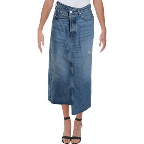 We The Free Womens Skirt Denim Distressed - Indigo