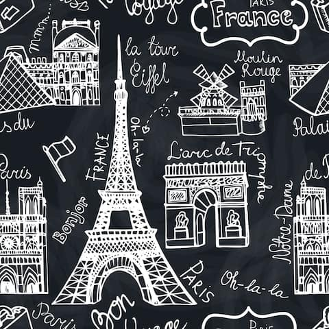 Retro Sketchy Famous Paris Removable Wallpaper - 24'' inch x 10'ft