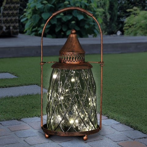 Exhart Solar Vintage Metal and Glass Accent Lantern with fifteen LED Fairy Firefly String Lights, 7 by 15 Inches