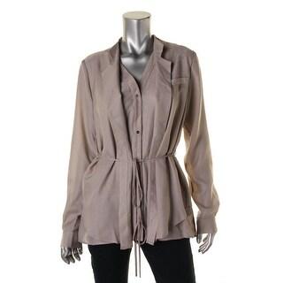 Halston Heritage Womens Crepe Layered Cardigan Top
