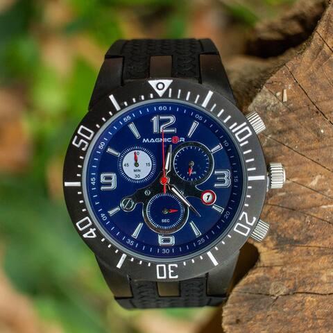 Magnicor Watch Company Chronograph Movement Black Color 40 Mm Dial Genuine Black, Grey, Blue, Orange Silicone Strap Wrist Watch