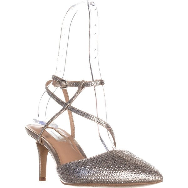 I35 Lenii2 Strappy Rhinestone Evening Sandals, Pearl Gold