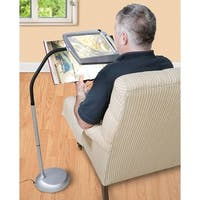 Floor Standing LED Lighted Magnifier - Adjustable 3X Power Reading Crafting Aid