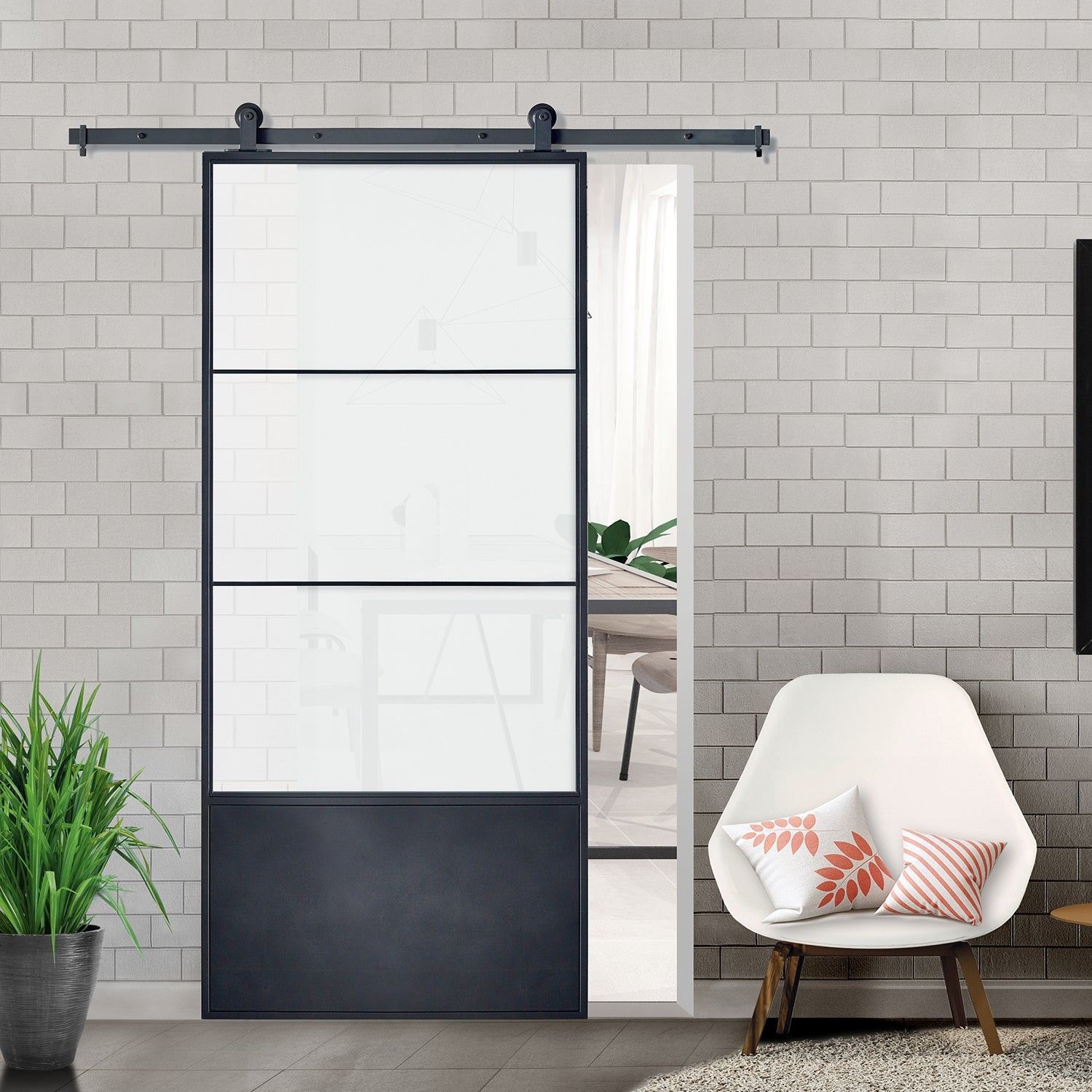 Concorde Black Frame Kit Frosted Glass 37 Inch Barn Door Overstock 28572532