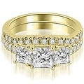 1.40 cttw. 14K Yellow Gold Lucida Three-Stone Princess Cut Bridal Set - Thumbnail 0
