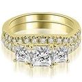 1.40 cttw. 14K Yellow Gold Lucida Three-Stone Princess Cut Bridal Set - Thumbnail 0
