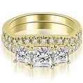 1.65 cttw. 14K Yellow Gold Lucida Three-Stone Princess Cut Bridal Set - Thumbnail 0