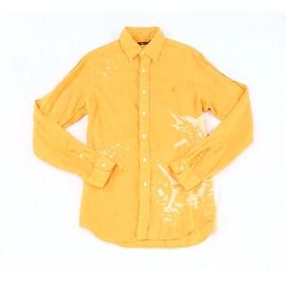 Polo Ralph Lauren NEW Orange Men Small S Bleach-Print Button Down Shirt