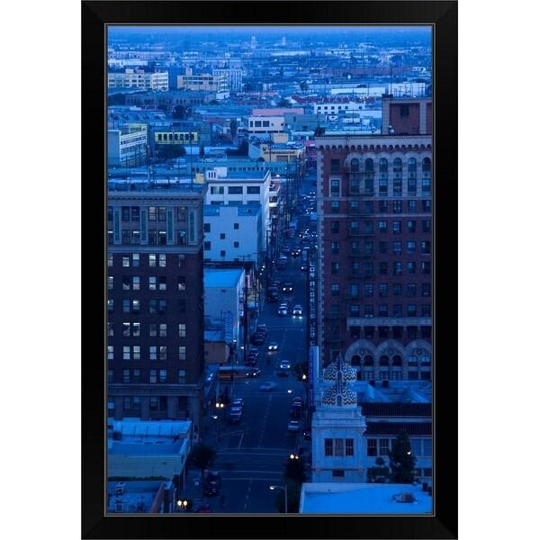"""Cityscape at dusk, Los Angeles, California"" Black Framed Print"